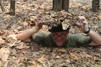 The tunnels were deliberately small to not only Western size men entry. As demonstrated here!