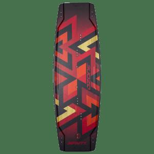 Twintip Infinity V1 (top) rouge transparent et bois d'Ozone Kites vendu par Jks-kitesurf