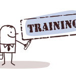 businessman with training sign