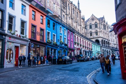 In the Grassmarket section. Diagon Alley was patterned after this street