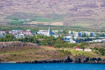 Our first glimpse of Akureyri