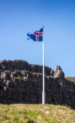 I love the Icelandic flag. This is at the exact spot of their first parliament meeting in 960 AD.
