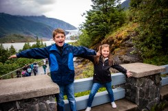 The grandkids at the Mendenhall Glacier