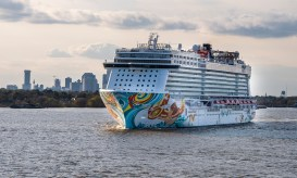 We passed the Norwegian Getaway on her way to sea