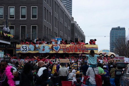 This float is still going. It was huge. Stretched the complete width of Julia Street.