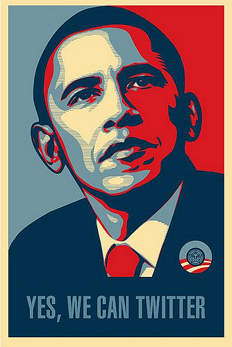 "A variation of Shepard Fairey's ""Hope"" poster of Barack Obama during the 2008 campaign. Instead of ""Hope"" at the bottom, it reads ""Yes, We Can Twitter."""