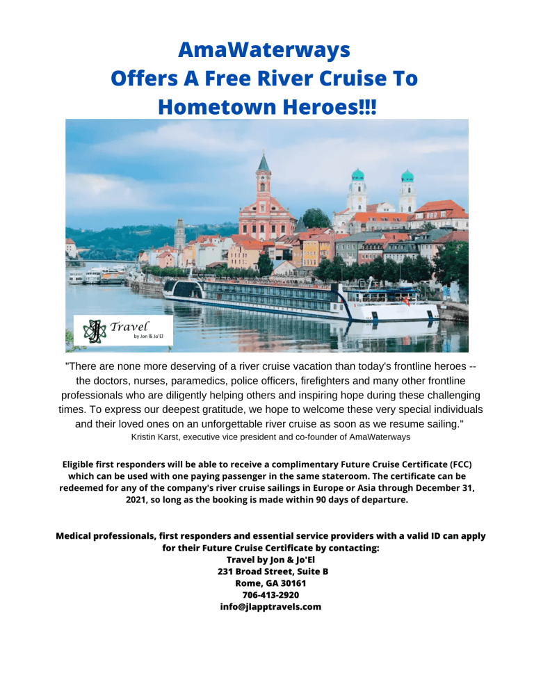 AmaWaterways is giving a free River Cruise to Frontline heroes