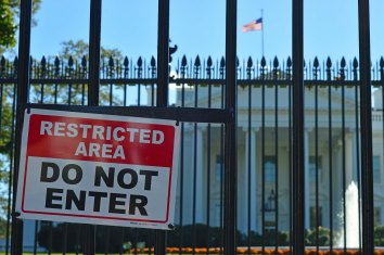 Taken just a couple of weeks before the election, I was surprised by the lack of atmosphere around the White House. Security was obviously tight but there was only one anti-Trump protester around.