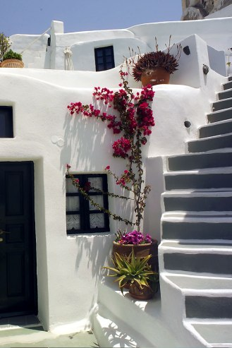 Steps in Oia, Santorini Greece