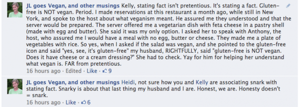 gluten-free is not vegan Facebook responses