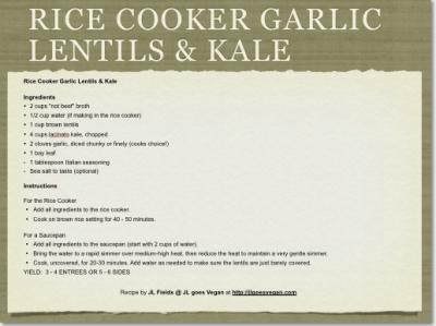 Rice Cooker Garlic Lentils & Kale 2