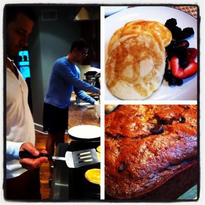 pancakes and banana chocolate bread