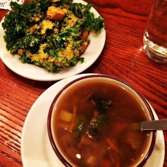 seeds community cafe | kale caesar salad and veggie bean soup