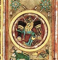 Lion, symbolizing the Gospel according to Mark, above the Ox of Luke and the Eagle of John