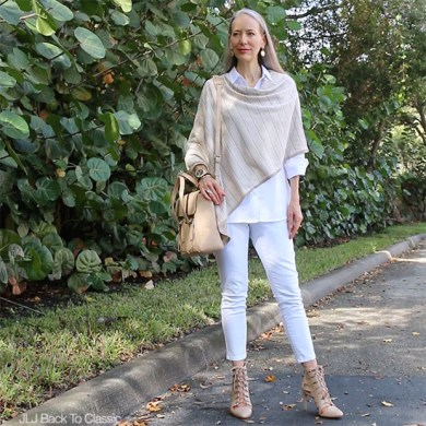 Video Chat   OOTD  Classic Fashion Over 40 50  Two New Makeup      Video Chat   OOTD  Classic Fashion Over 40 50  Two New Makeup Products   Plus My Taupe Poncho and White Skinny Jeans Outfit With a Phillip Lim  Pashli