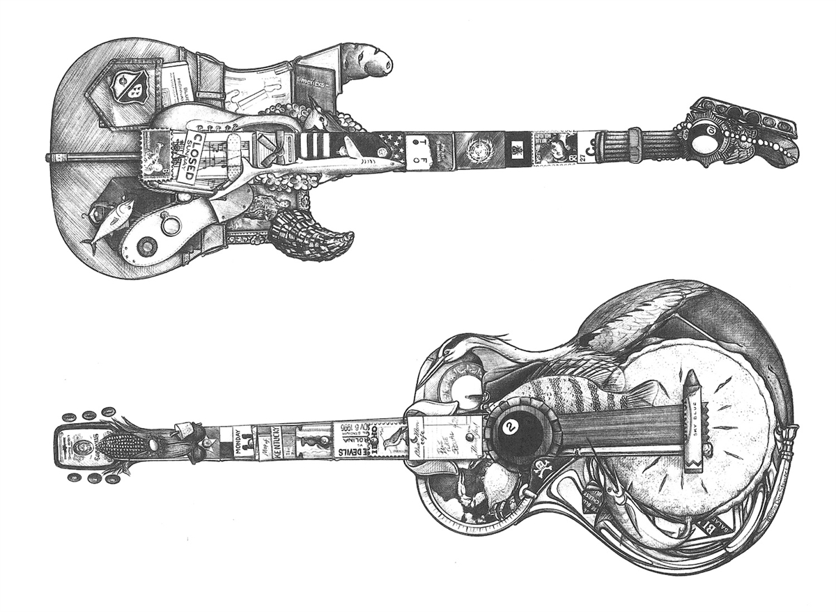 Drawn Guitar Blues Guitar