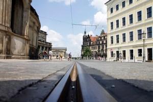 De brede straten van Dresden.