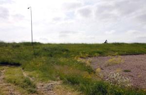 Een eenzame fietser op de dijk.