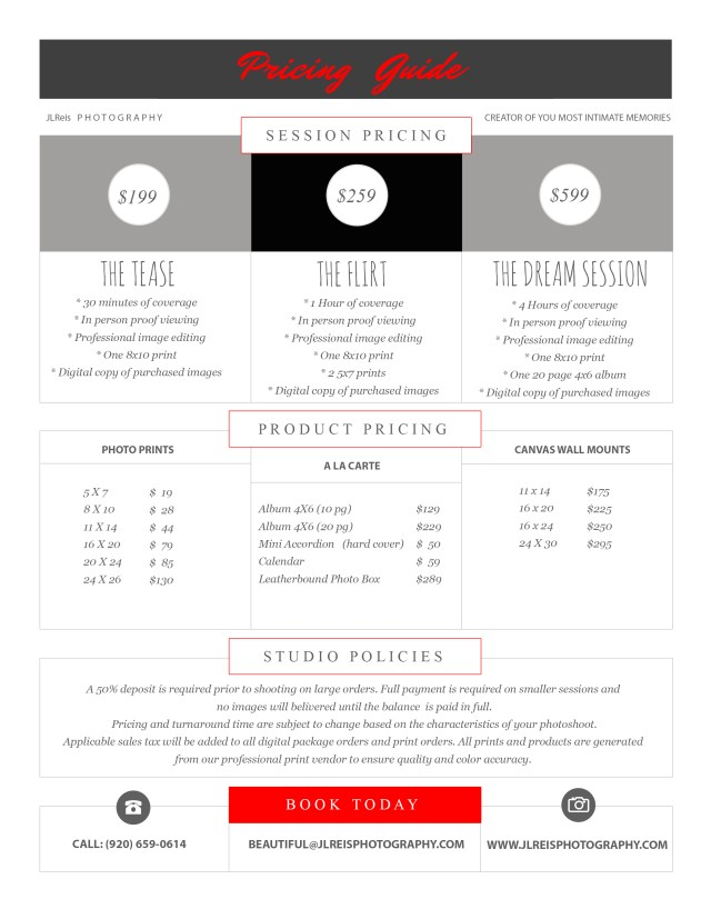 Boudoir & Glamour Photography - JLReis Pricing