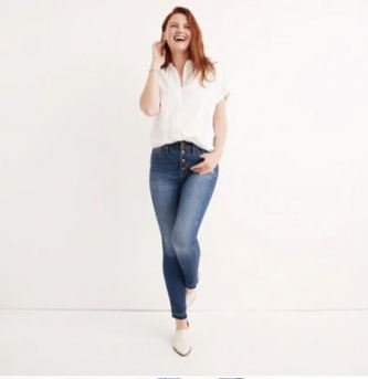 Madewell 10 inch high rise skinny jean drop-hem edition in rosecliff wash