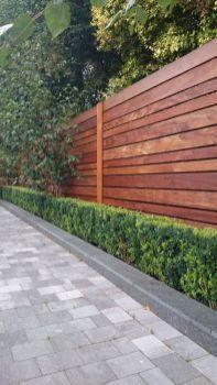 Horizontal Fence with Hedge