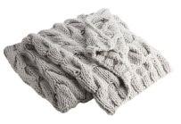 Chunky Light Grey Cabel Knit Throw
