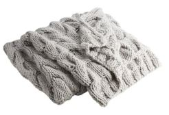 Chunky Light Grey Cabel Knit Throw