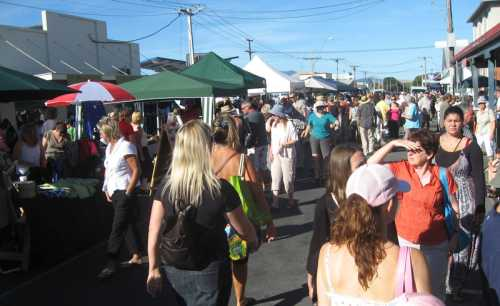 Fair stalls in Jellicoe Street. There are stalls on the three other streets that end up in the Martinborough Square, and the Square itself is chock full of sellers.