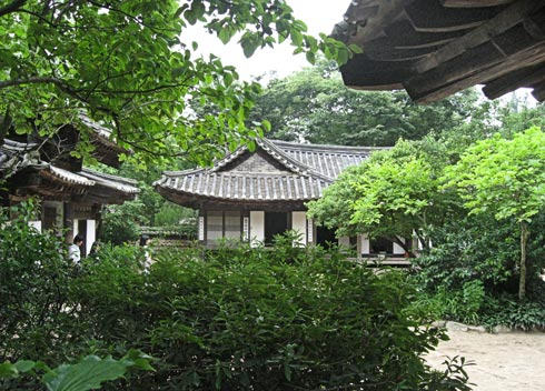 The village has a wide variety of buildings: traditional houses of the different social classes, farm buildings, community facilities etc. It was early summer when we were there and the deciduous trees were green and lush.