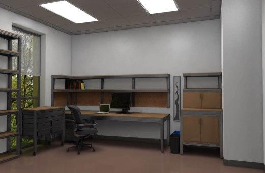 Design of custom office furniture made of 8020 aluminum frame and MDF.