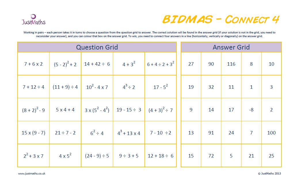 bodmas homework ks2