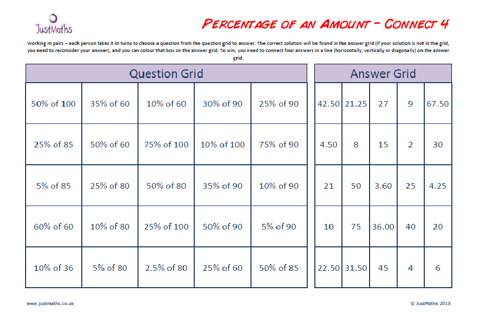 Printable Worksheets ratio proportion and percent worksheets : Connect 4 … Percentage of an amount | - JustMaths