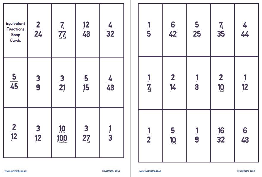 Witty image intended for printable fraction cards