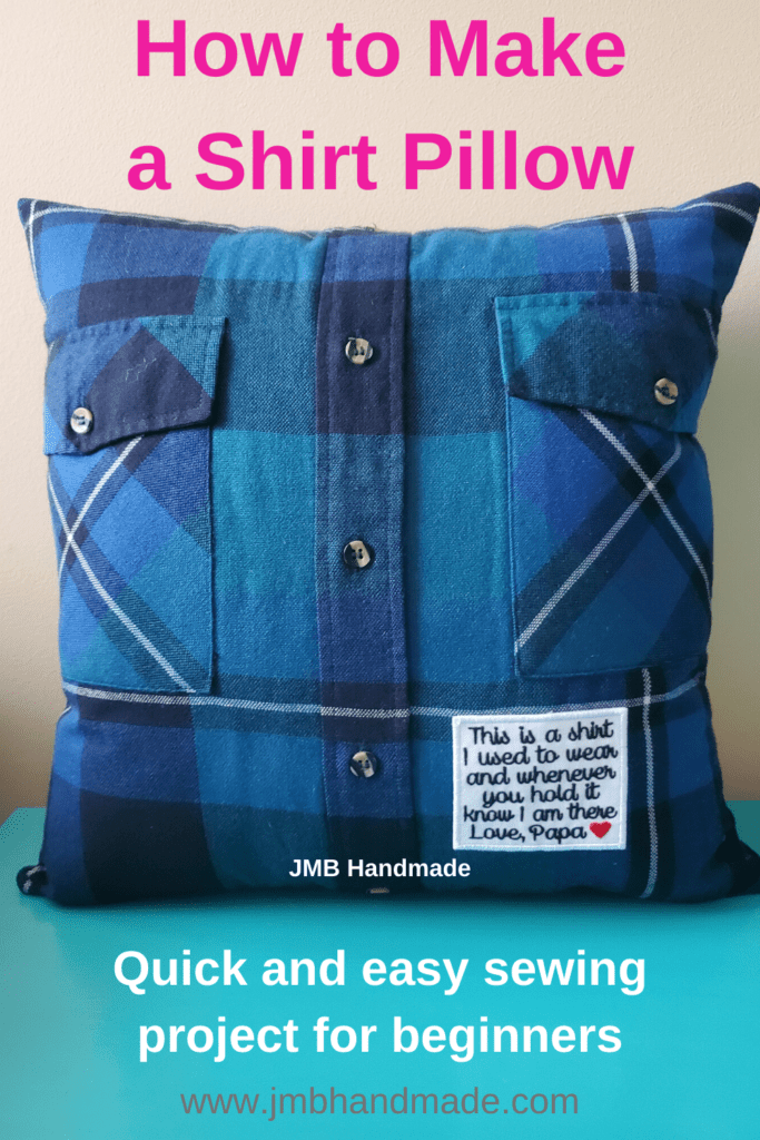 making a memory pillow from a shirt