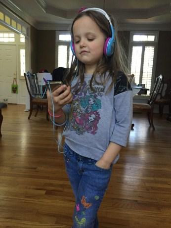 This girl loves music.