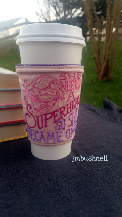 She Needed a Superhero Cozy to Go on a Cup