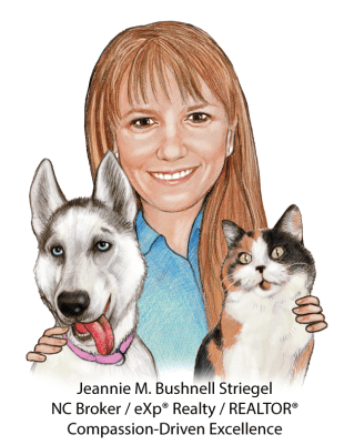 drawn image of Jeannie M. Bushnell Striegel and animals