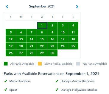 calendar of days for Disney World