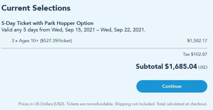 price of five day ticket to disney world