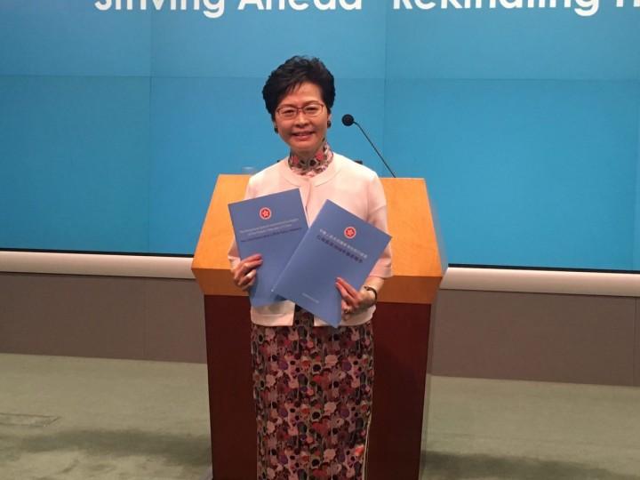 行政長官林鄭月娥昨日發表任內第二份《施政報告》。(李馨萍攝)