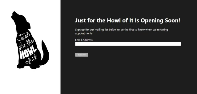 Just for the Howl of It web landing page