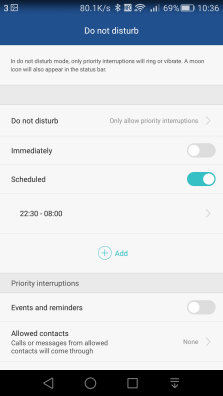 The Do Not Disturb menu is where you can set up the Lollipop style features to manage alerts and calls at certain times of the day