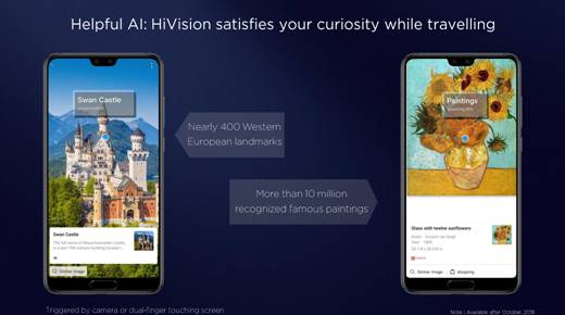 New AI function - HiVision - with more to come on Kirin 980 based handsets later this year