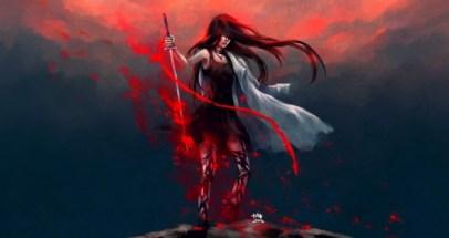 long hair artwork black dress warriors swords paint splatter nanfe_wallpaperswa.com_71