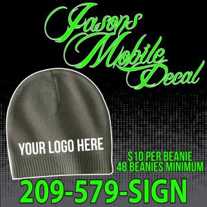 Call at 209-579-SIGN for all your embroidery needs, Hats, Beanies, Shirts and more!