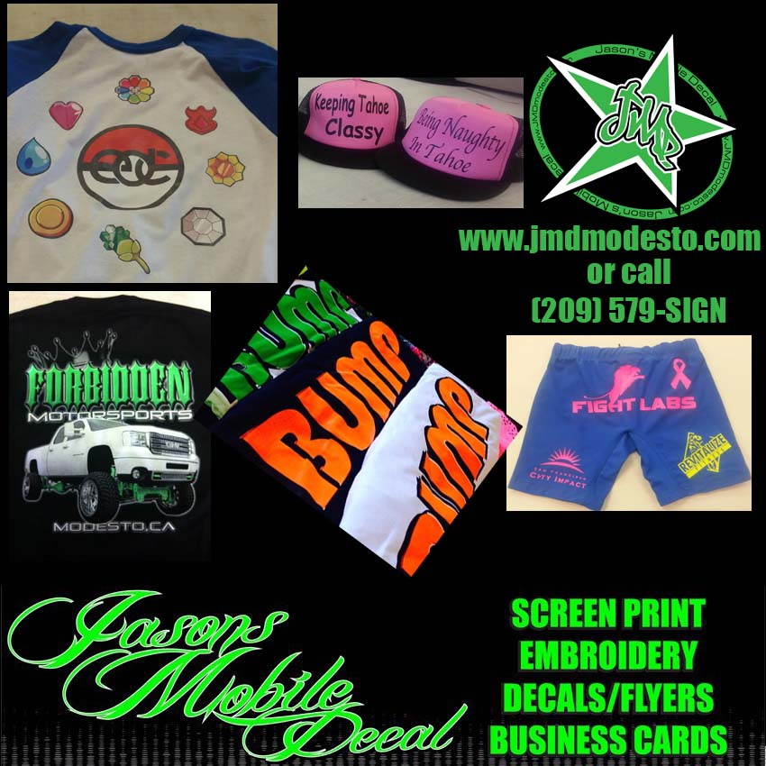 No matter what your needs are jasons mobile decal has the screen printing solution ready for you we can screen print most anything you need hats shirts