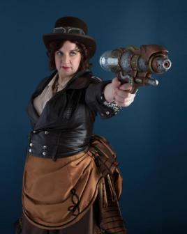 "J.M. Frey as Thalia on the set of ""Ruffus the Dog's Steampunk Adventure!"""