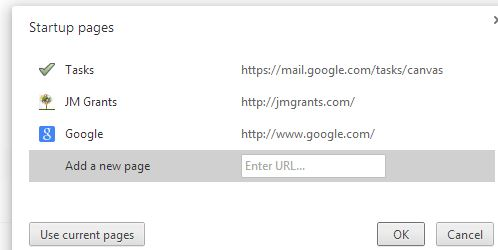 Start Up Pages includes Google Tasks Canvas View
