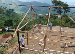 Drying shed under construction, Bukonzo Joint Co-operative