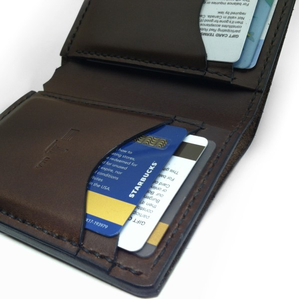 Compact leather wallet